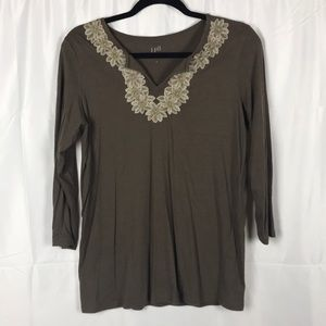 J. Jill brown with embroidery around neck top